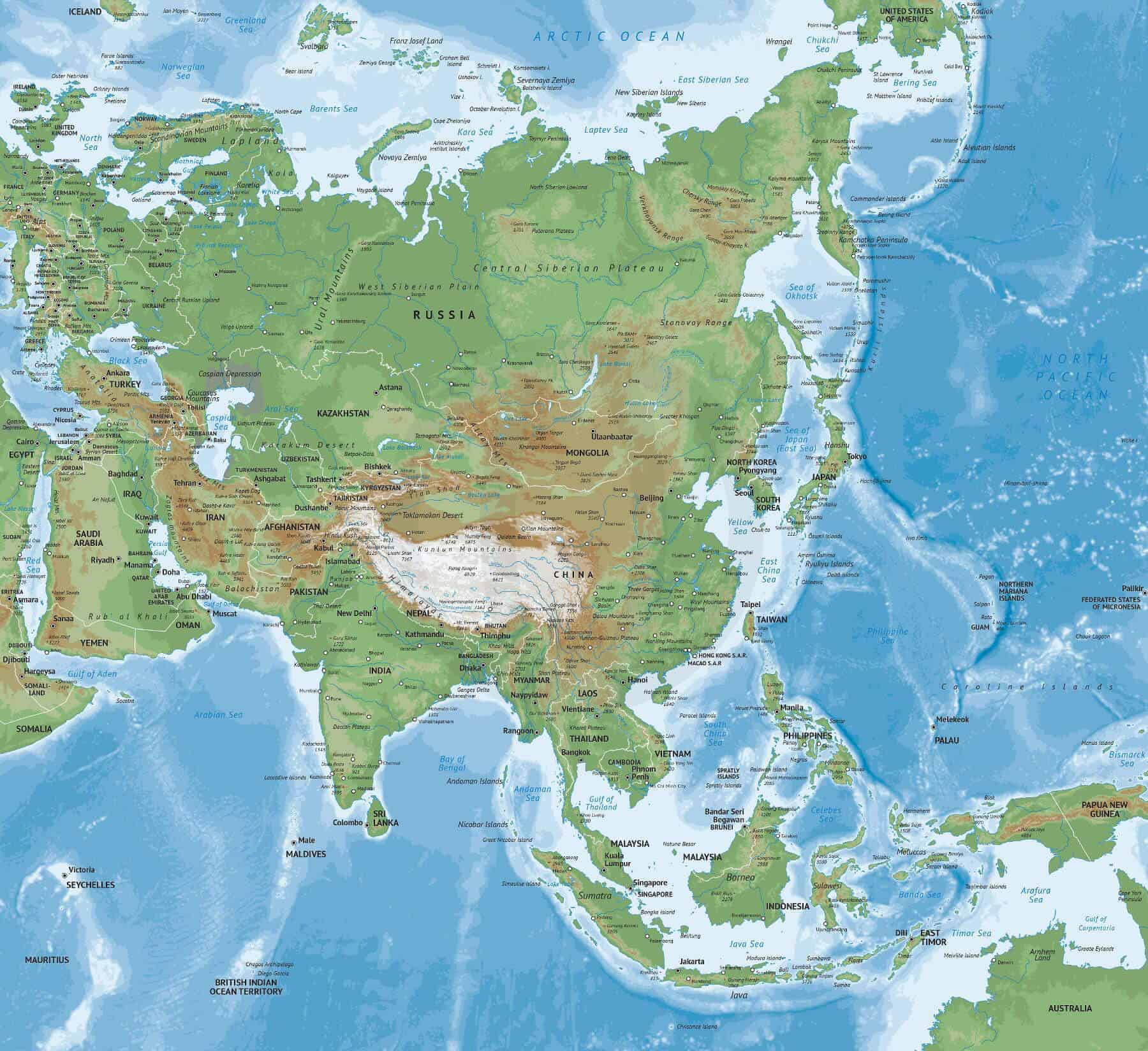 Vector Map Of Asia Continent Physical