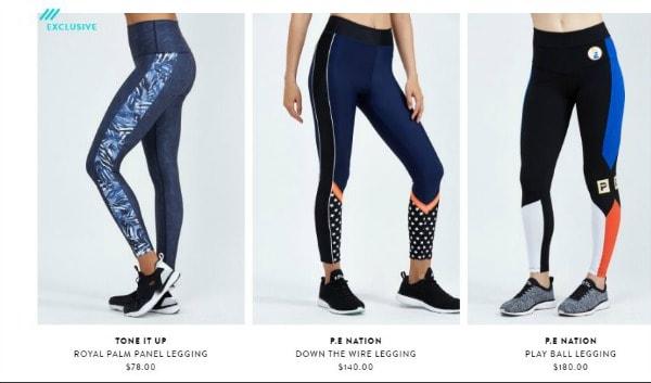 Bandier's site has cool gym apparel