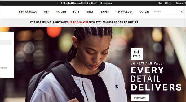 Under Armour is one of the top gym apparel sites for women