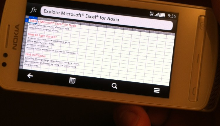 Microsoft Excel running in landscape view