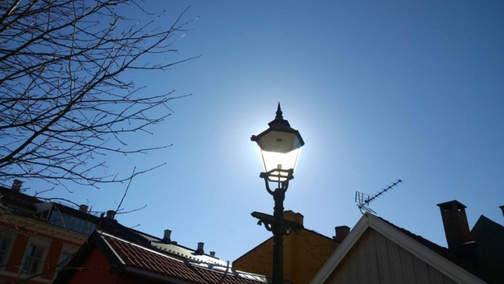 In Oslo, Norway. I used the sun as this lamp's new bulb!