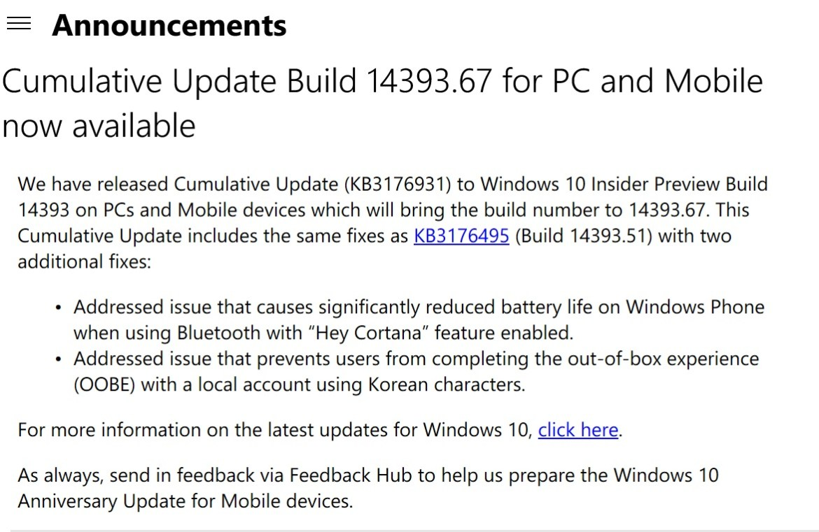Windows 10 Insider Preview Build 14393 67 Available for Mobile and