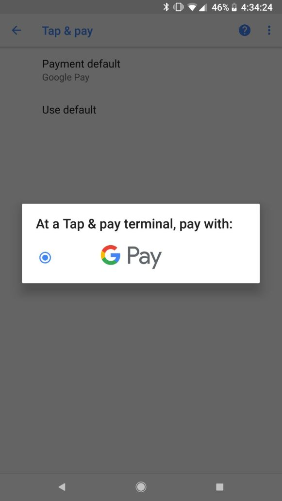 The Google Pay logo, on Google Pixel XL