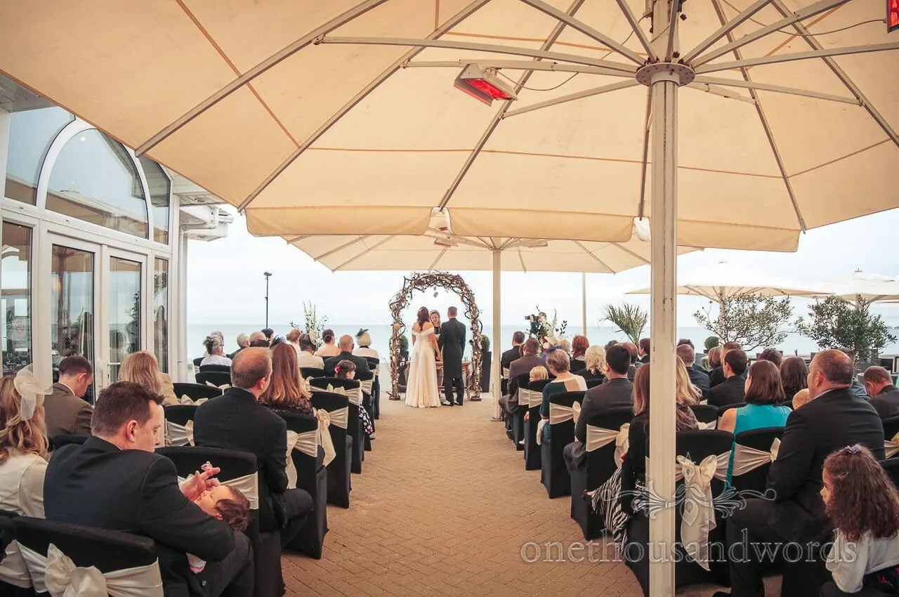 chair covers wedding bournemouth cover hire fife sandbanks beach - alec and vicky's art deco