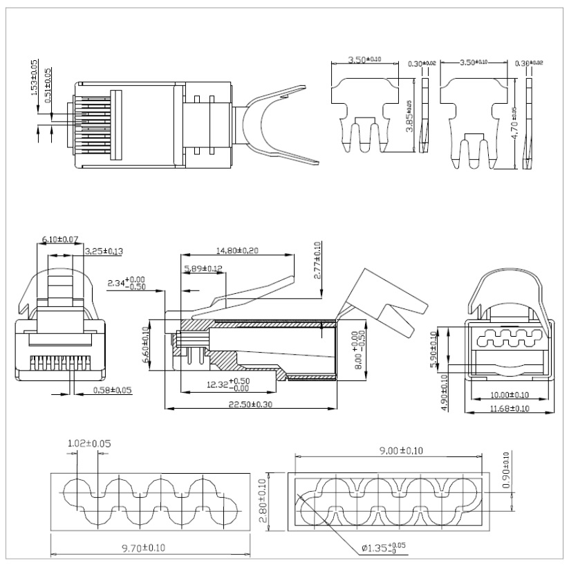CAT7 STP RJ45 Plug