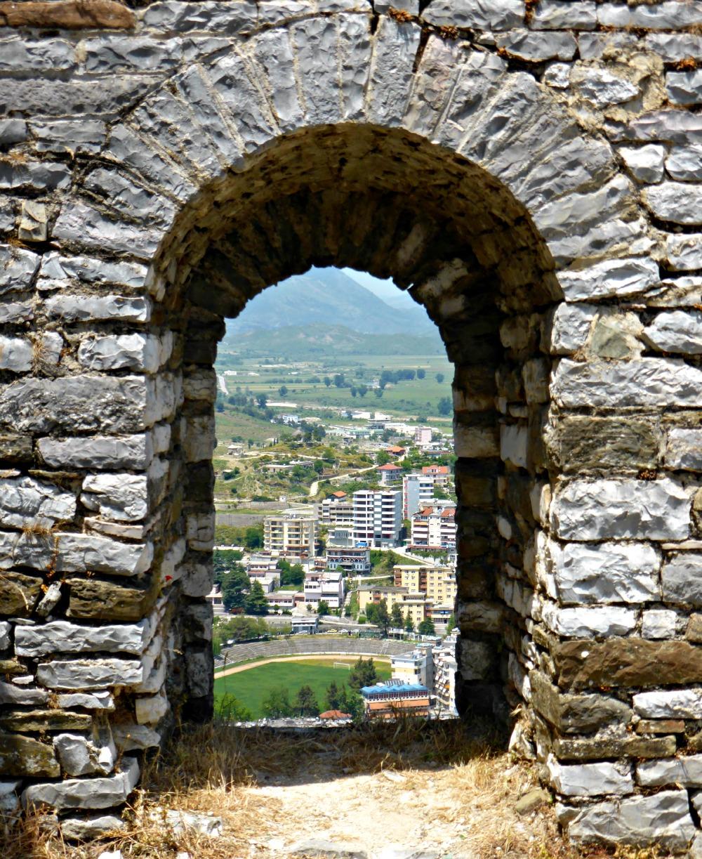View through the castle walls of Gjirokastra, Albania