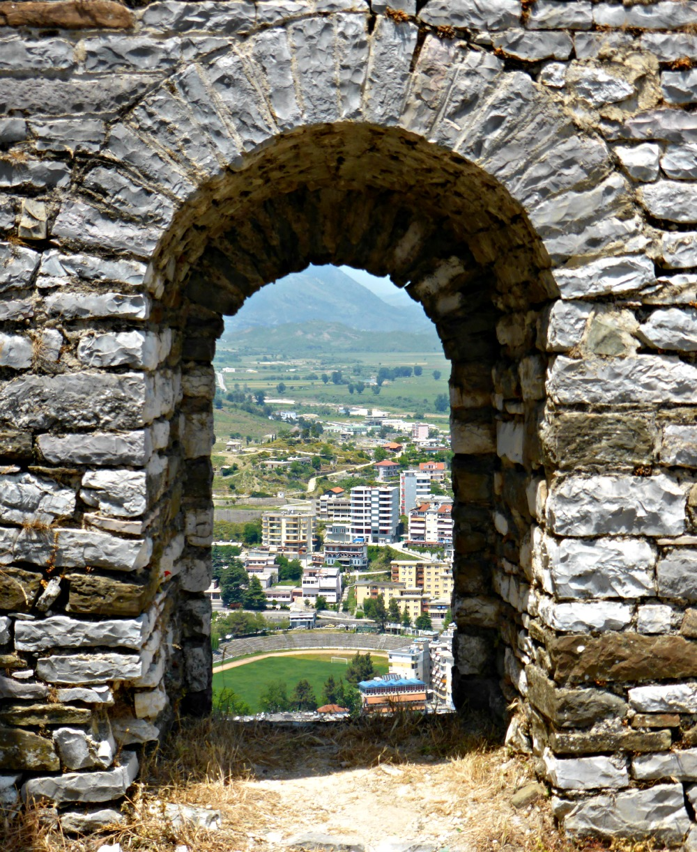 View through the castle walls of Gjirokastra, Albania