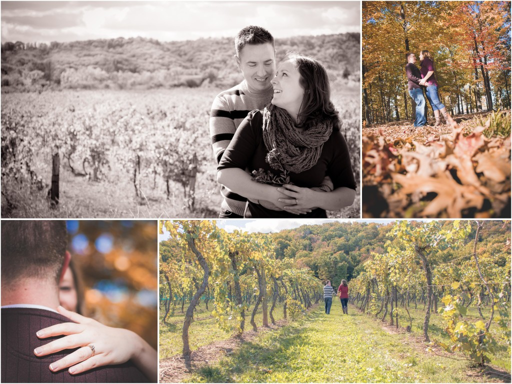 engagement session with fall foliage and winery vineyard