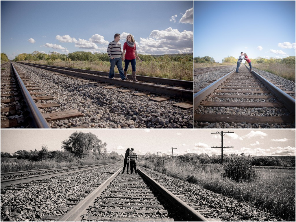engagement session on railroad