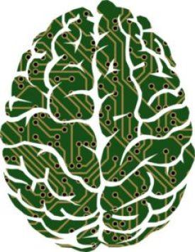 Brain Vector Graphic AI chip axial
