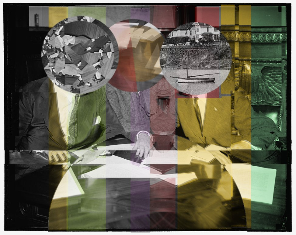 Collage with 3 men and house boat