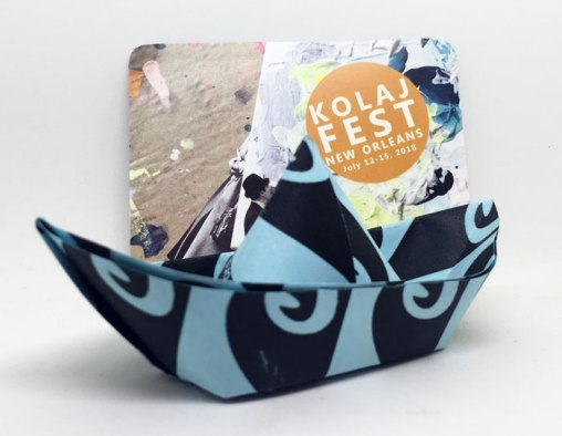 JRC folded paper boat and Kolaj Magazine