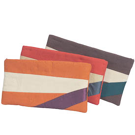 Small Toiletry Bags from Afghanistan, available in brown, orange and red Measure: 5 high x 9-3/4 wide