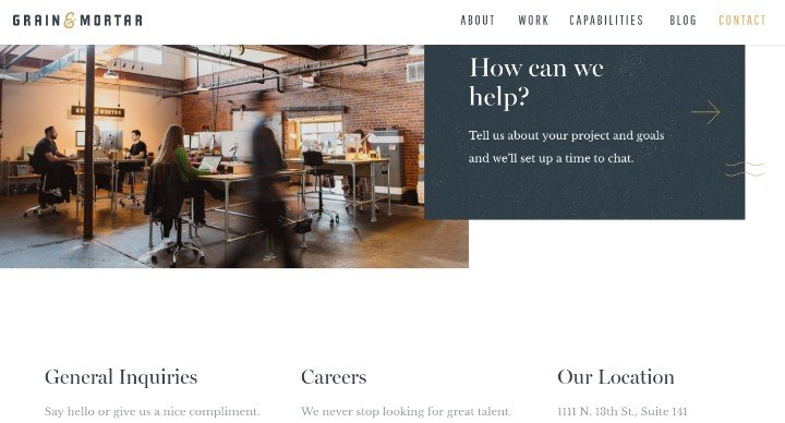 Grain-and-Mortar Contact Us Page Best Practices with 22 Fantastic Examples