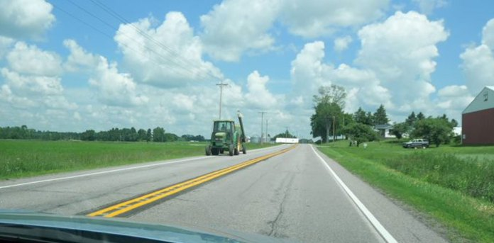 tractor on road