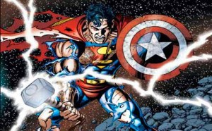 Superman with Thor's hammer and Captain America's shield