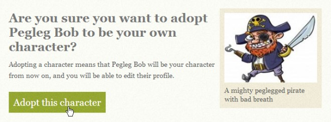 Are you sure you want to adopt pegleg bob roleplaying character?