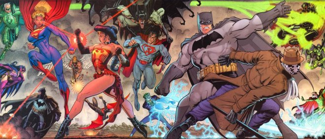 Comic characters fighting