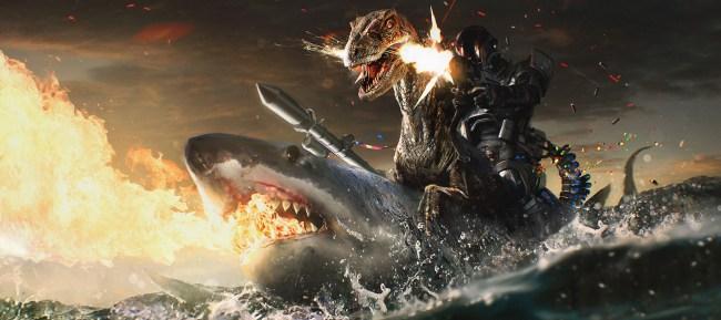 Judge Dredd riding a dinosair riding a shark