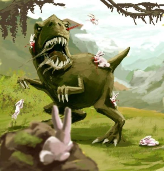 dinosaur being eaten by rabbits