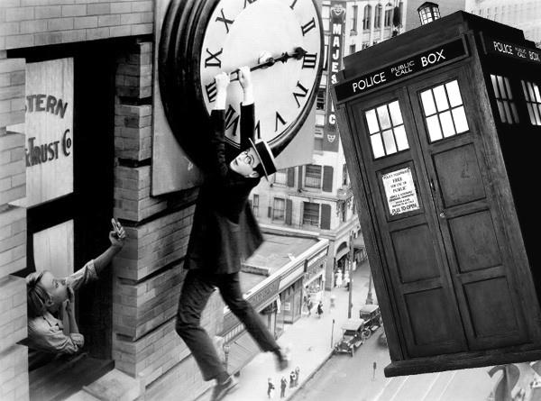 harold lloyd hanging around with the TARDIS