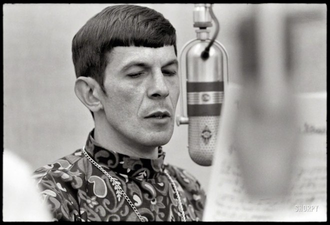 Nimoy with microphone