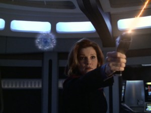 Captain Janeway from Voyager in the episode Equinox