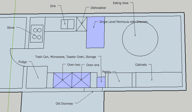 New Kitchen Layout (not to scale)