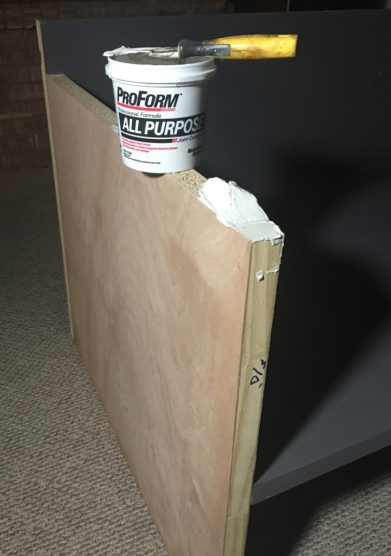 How to Build a Sofa, filling raw edges with joint compound
