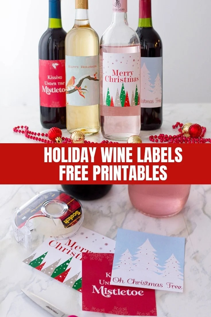 holiday wine labels free