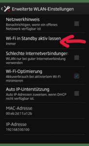 WiFi Standby Richtlinie
