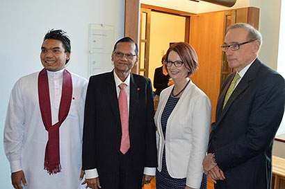 Prime Minister Julia Gillard with External Affairs Minister Professor G.L. Peiris, MP Namal Rajapaksa