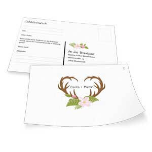 Traditionelle Menkarte mit Geweih online selber erstellen