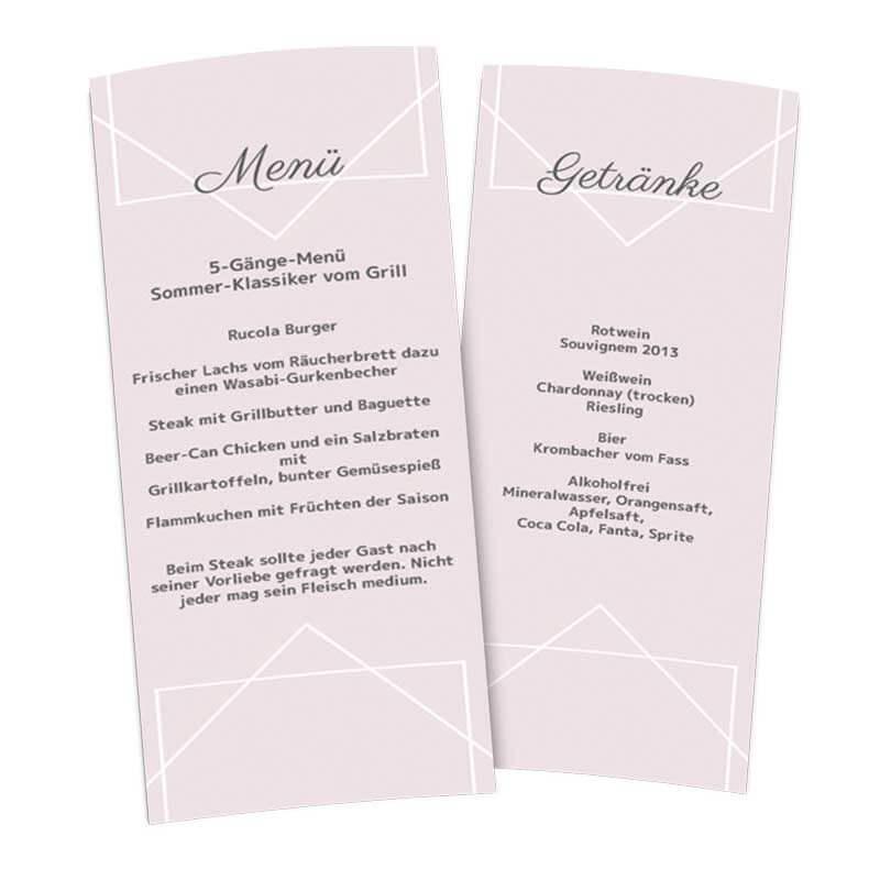 Menkarte Aufsteller Moderne Romantik maxi Flieder Hochzeit