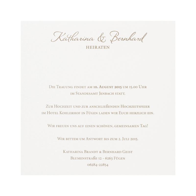 Braune Hochzeitskarte mit Einsteckkarte mit ComicBrautpaar