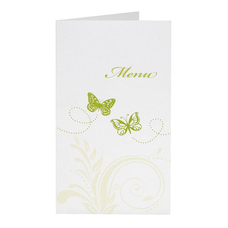 Hochzeit Menkarte mit Ranke und Schmetterlingen