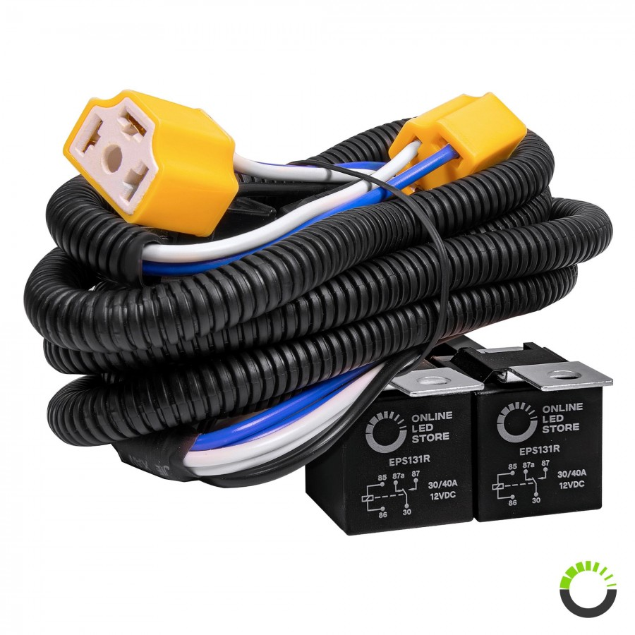 hight resolution of h4 negative switched headlight system relay wiring harness kit