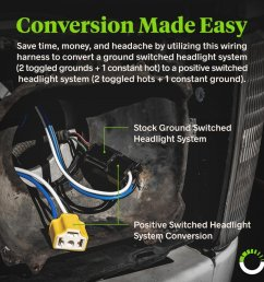 h4 negative switched headlight system relay wiring harness kit zoom prev [ 900 x 900 Pixel ]