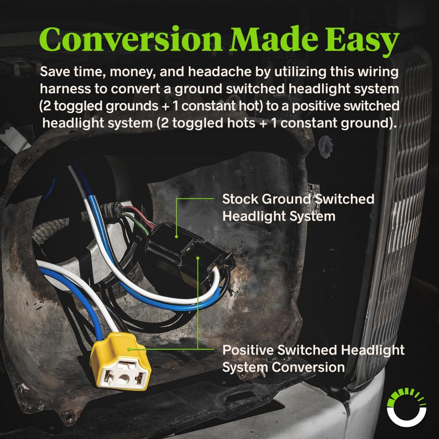medium resolution of h4 negative switched headlight system relay wiring harness kit zoom prev