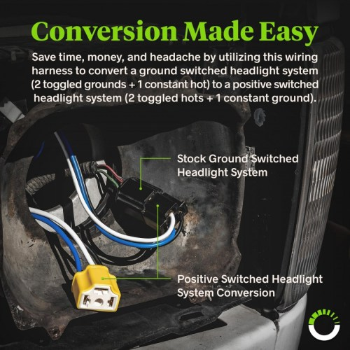 small resolution of h4 negative switched headlight system relay wiring harness kit zoom prev
