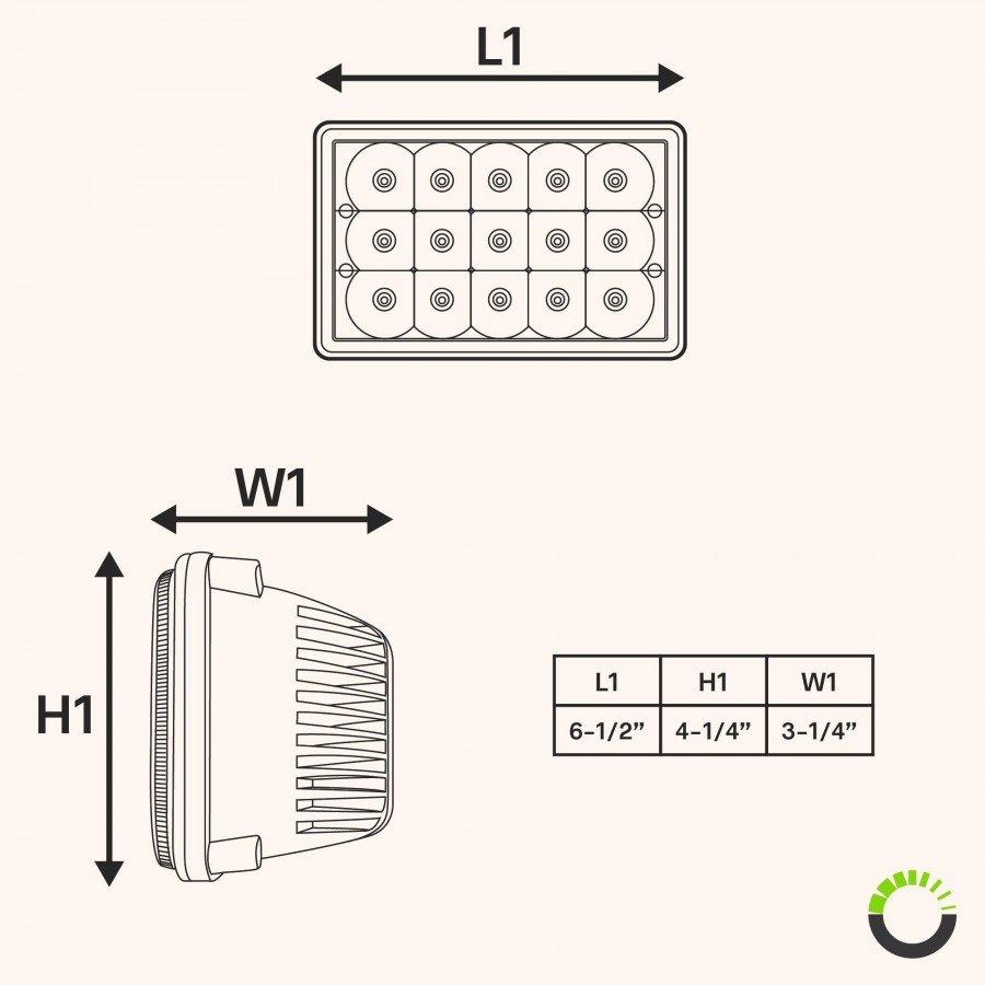 hight resolution of 4pc ols 4x6 45w led sealed beam headlight assembly three headlight wire diagram led headlight diagram