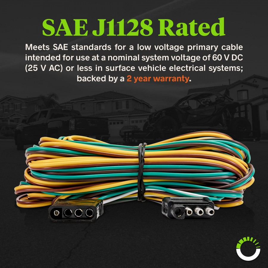 hight resolution of 4 way flat 25ft male 4ft female wishbone style trailer wiring harness zoom prev