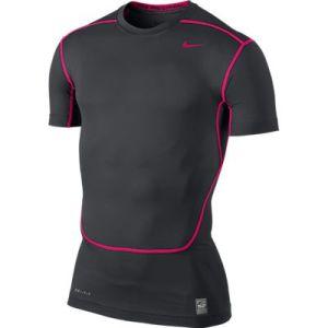 Nike Pro Combat SS 2.0 thermoshirt heren antraciet/roze