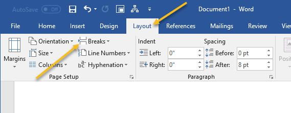 make page landscape in word