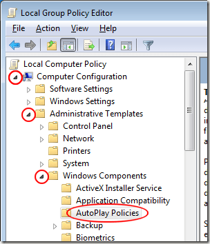 AutoPlay Policy in Local Group Policy Editor