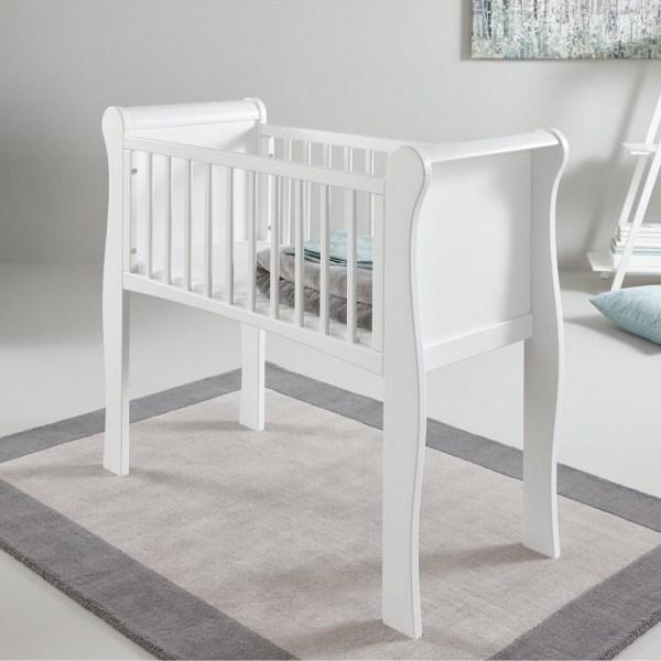 Little Acorns Sleigh Crib & Foam Mattress - White