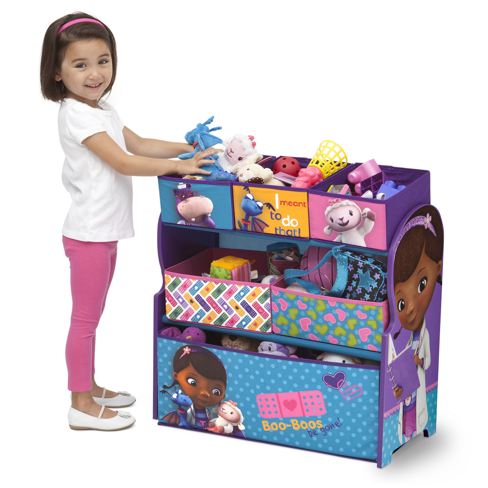 doc mcstuffins upholstered chair uk cover rentals langley delta children disney wooden multi bin toy