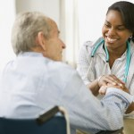 Home Health Aide and elderly man spending time together