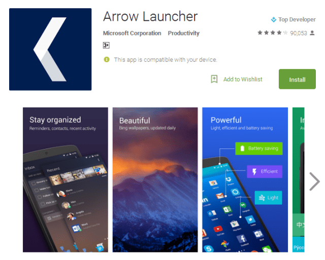 Arrow best launcher for android