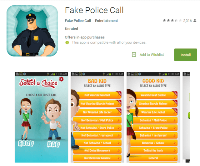 Fake Police Call Android Apps